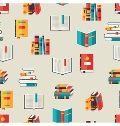 Seamless pattern with books in flat design style vector image