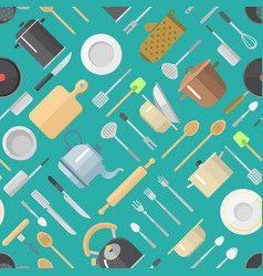 seamless pattern with kitchenware vector image