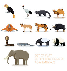 Set of flat geometric asian icons vector