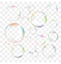set transparent soap bubbles vector image