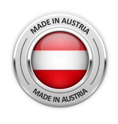 Silver medal Made in Austria with flag vector image