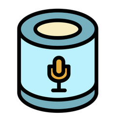 Smart speaker microphone icon color outline vector