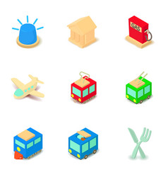 social transport icons set isometric style vector image