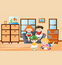 Students reading in the room vector