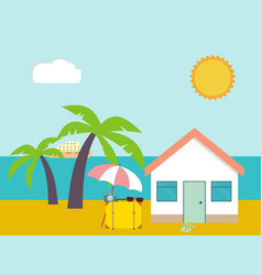 Summer beach beach house on palms and sea vector