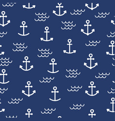 summer seamless pattern with anchors cute sea vector image