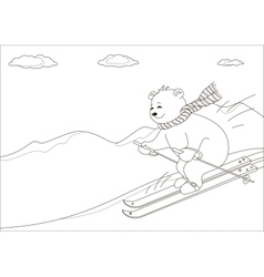 Teddy bear skies in mountains contours vector image