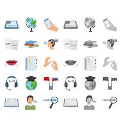 Translator and linguist cartoonmono icons in set vector
