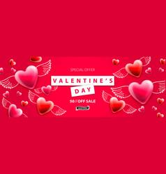 Valentines day sale background romantic vector