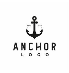 Vintage retro anchor silhouette for boat ship vector