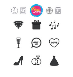 Wedding engagement icons rings gift box vector