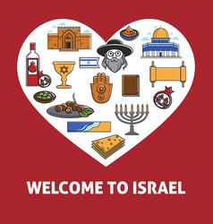 Welcome to israel promo banner with country vector