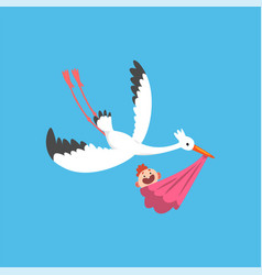 white stork delivering a newborn baby flying bird vector image