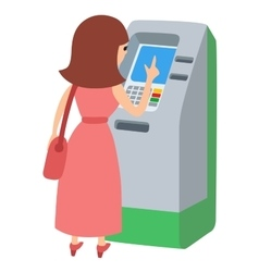Woman using ATM machine icone vector image