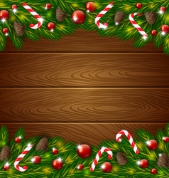 Wooden background and Xmas ornament vector image