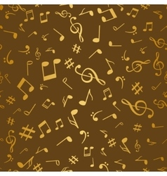 Abstract golden music notes seamless pattern vector image