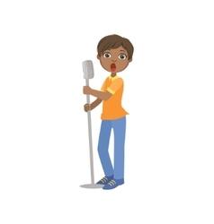 Boy in blue pants singing in karaoke vector