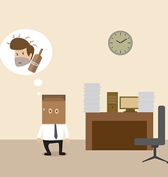Businessman covered with paper bag cause of drunk vector image
