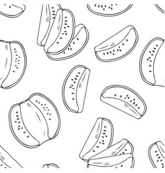 hand drawn outline seamless pattern with kiwi vector image vector image