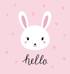 hand drawn portrait of a cute funny bunny vector image vector image