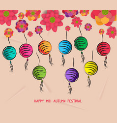 mid autumn festival blooming flower and lantern vector image vector image