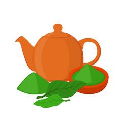 powder leaves of asian tea teapot teakettle vector image