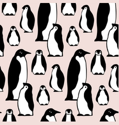 seamless pattern texture with penguins on vector image vector image
