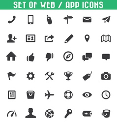 set of web app icons vector image