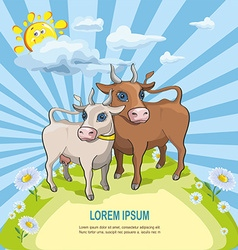 Cartoon cow and bull in front of rainbow vector image vector image