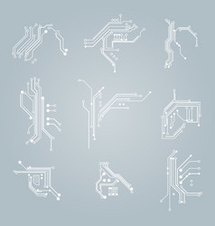 circuit board elements white thin line icon set vector image vector image