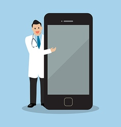Doctor pointing to the screen of a smartphone vector image vector image