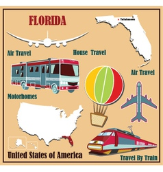 Flat map of Florida vector image vector image