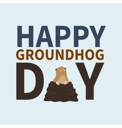 Happy groundhog daylogo iconcute happy marmot vector
