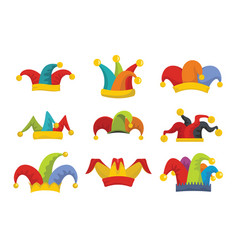 jester fools hat icons set flat style vector image
