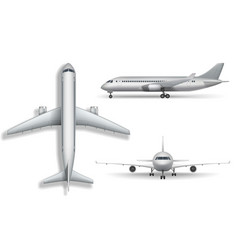 Silver realistic airplane mock up isolated vector
