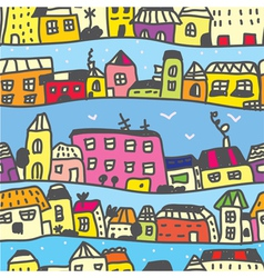 Town seamless pattern vector image vector image