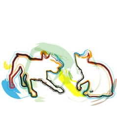 Abstract Cat and dog vector image