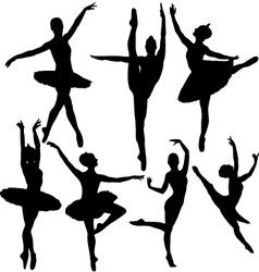 Ballet female dancers silhouettes vector