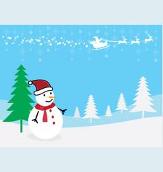 christmas greeting card snowman with santa claus vector image vector image