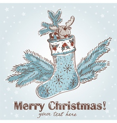 Cute Christmas hand drawn ink retro postcard vector image vector image