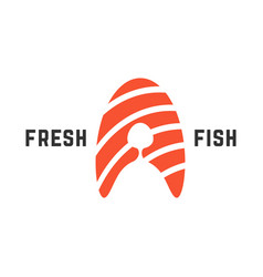 fresh fish logo with piece of salmon vector image vector image