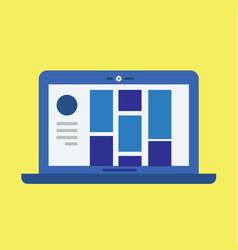 modern laptop with user interface and yellow vector image