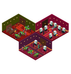 people in casino isometric concept vector image