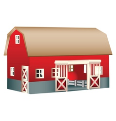 Red wooden toy barn vector image