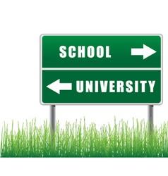 roadsign school university with grass below vector image