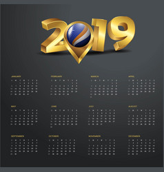 2019 calendar template marshall islands country vector