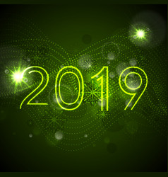 2019 green glowing neon new year background vector image