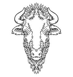 a buffalo head design on white vector image