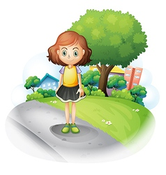 A girl standing at the street vector image