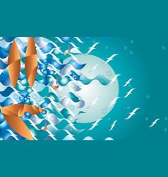 abstract boat fantasy at night fantasy vector image